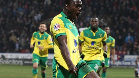 New King's Lynn Town signing Jamar Loza celebrates after scoring his debut goal for Norwich City in