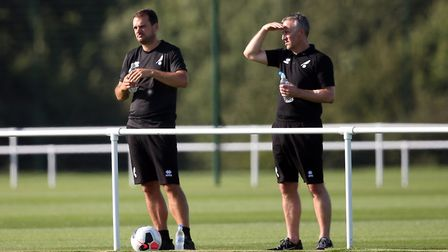 Norwich City sporting director Stuart Webber and loans manager Neil Adams, right Picture: Paul Chest