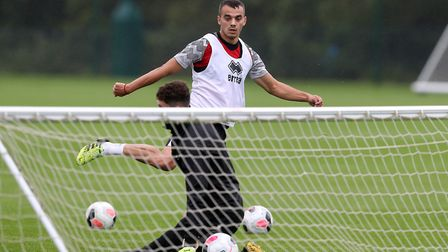 New signing Danel Sinani hard at work at Colney Picture: Norwich City Football Club