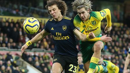 Arsenal defender David Luiz is a doubt ahead of the Gunners fixture with Norwich City. Picture: Paul