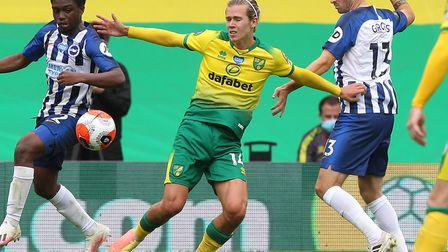 Todd Cantwell featured as a substitute during Norwich City's home loss to Brighton but will miss the