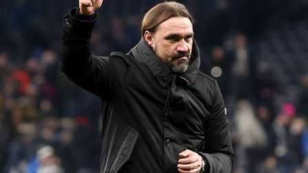 Daniel Farke salutes the 9,000 strong Norwich City support at Tottenham in the previous FA Cup round