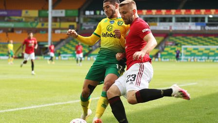 United left-back Luke Shaw kept Emi Buendia busy at Carrow Road Picture: Catherine Ivill/NMC Pool/PA