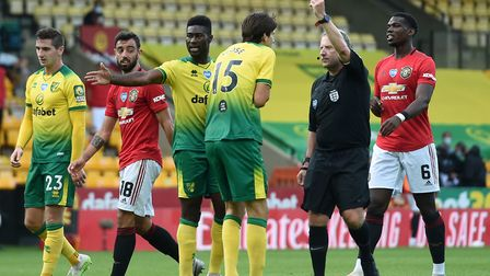 Timm Klose was sent off in the 89th minute of Norwich City's narrow FA Cup loss to Manchester United