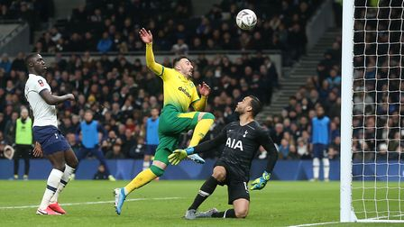 Josip Drmic scored in the previous FA Cup round at Tottenham but is an injury doubt Picture: Paul Ch