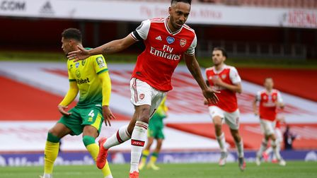 Arsenal's Pierre-Emerick Aubameyang celebrates scoring his side's third goal of the game against Nor