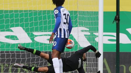 Brighton keeper Mat Ryan was relieved to see Adam Idah's header cannon off his post as his team won