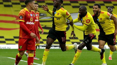 Watford's Danny Welbeck celebrates scoring his side's second goal of the game with an overhead kick