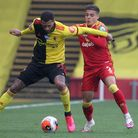 Max Aarons struggles to get the better of Watford's Etienne Capoue Picture: Paul Chesterton/Focus Im