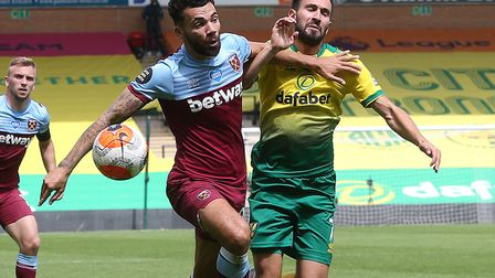 Norwich substitute Lukas Rupp was eased off the ball by Ryan Fredericks too easily ahead of West Ham