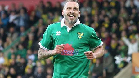 Darren Huckerby celebrates scoring during the Team Wes v Team Russ exhibition at Carrow Road in May