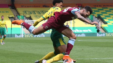 Ryan Fredericks of West Ham is fouled by Jamal Lewis of Norwich during the Premier League match at C