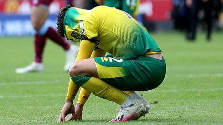 Max Aarons couldn't hide his despair at the final whistle. Picture: Alex Pantling/NMC Pool/PA Wire