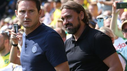 Chelsea manager Frank Lampard and Norwich head coach Daniel Farke, right, ahead of the Blues' win at