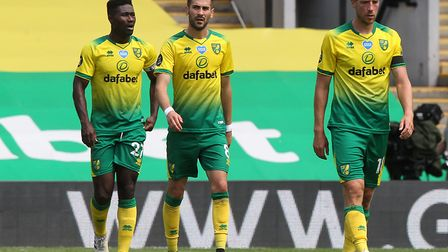 Norwich players, from left, Alex Tettey, Mario Vrancic and Marco Stiepermann get that sinking feelin