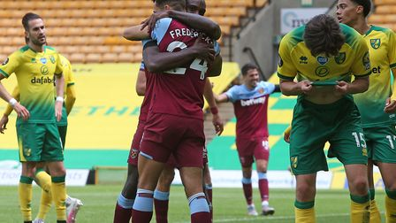 Norwich City on their way to a 4-0 defeat against West Ham that confirmed their relegation Picture: