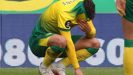 The reality of relegation dawns for Max Aarons after defeat to West Ham at Carrow Road Picture: Paul