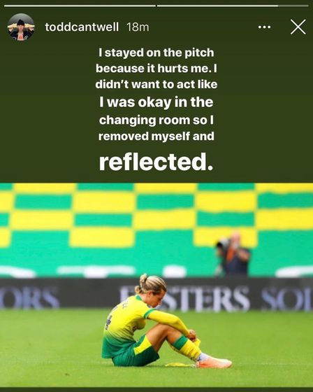 Norwich City midfielder Todd Cantwell has explained why he took a moment on the pitch after City's d