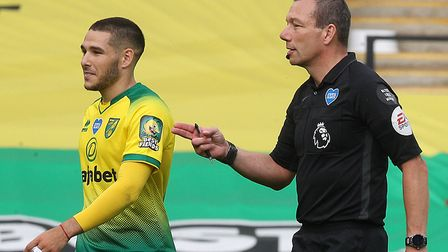 Emi Buendia was red carded on his final appearance of the season for Norwich City against Burnley Pi