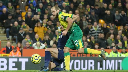 """Teemu Pukki of Norwich scores but the """"goal"""" is disallowed for offside by Video Assistant Referee Ch"""
