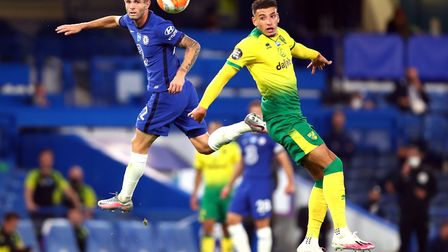 Norwich defender Ben Godfrey competes with Christian Pulisic during City's 1-0 loss at Chelsea Pictu
