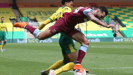 Ryan Fredericks of West Ham is fouled by Jamal Lewis of Norwich during the 4-0 defeat which confirme