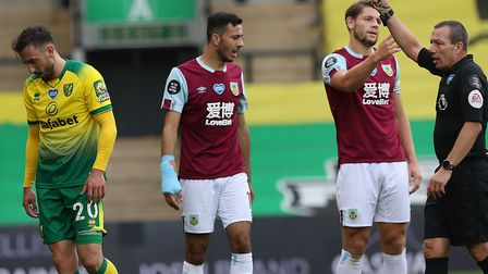 Josip Drmic and Emi Buendia saw red in City's defeat to Burnley at Carrow Road. Picture: Paul Cheste
