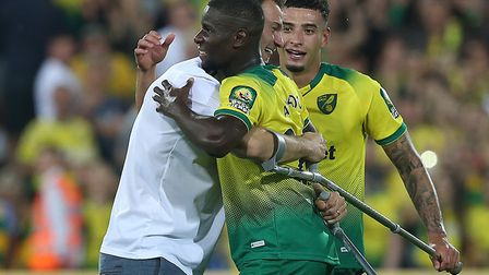 Christoph Zimmermann wasn't going to let crutches stop him congratulating Ibrahim Amadou after the C