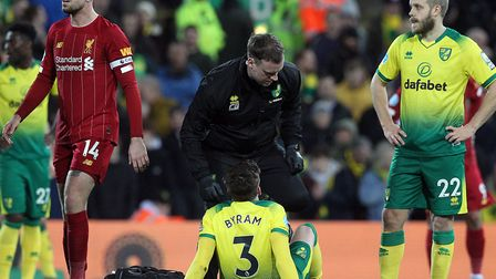 Sam Byram's season was cut short in the Premier League home defeat to champions Liverpool Picture: P
