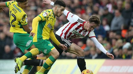 Kieran Dowell in action during Sheffield United's 2-2 draw at Norwich City in the Championship durin