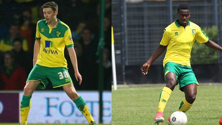 Former Norwich City duo Conor McGrandles, left, and Diallang Jaiyesimi have completed moves to Linco