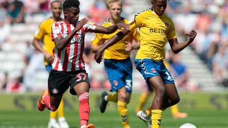 Bali Mumba, left, in action for Sunderland against Charlton Athletic Picture: PA