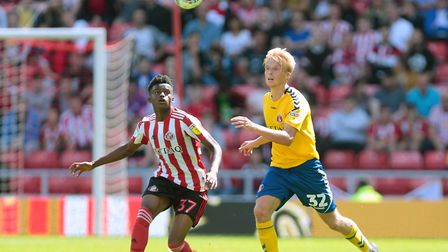 Norwich City's newest signing, Bali Mumba, in Sunderland colours Picture: PA