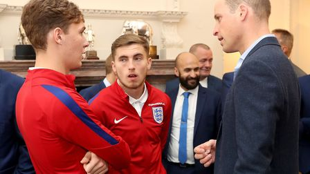 The Duke of Cambridge, in his role as president of the Football Association, speaks with Kieran Dowe