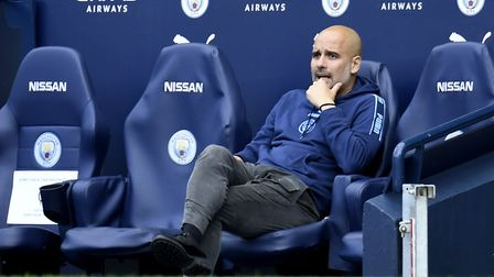 Manchester City manager Pep Guardiola watches his side cruise to victory Picture: Peter Powell/NMC P