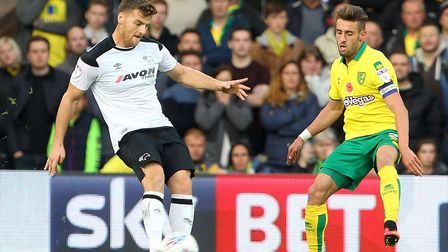 Chris Martin, left, in action for Derby during a 2-1 win at Carrow Road in the Championship in Octob