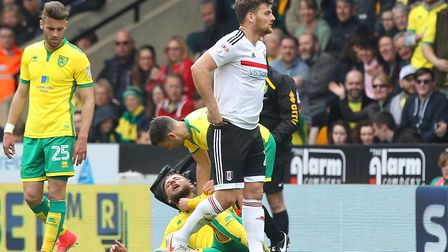 Chris Martin was sent off for a poor tackle on Norwich defender Mitchell Dijks at Carrow Road in Apr