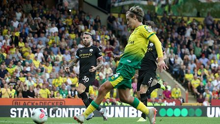 The Dereham born midfielder scored the Canaries second goal in the win against Manchester City. Pict