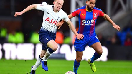 Norwich City loan signing Oliver Skipp, left, in FA Cup action for Tottenham against Crystal Palace
