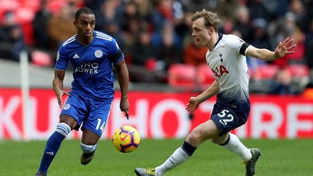 Oliver Skipp, right, in Premier League action for Tottenham against Leicester