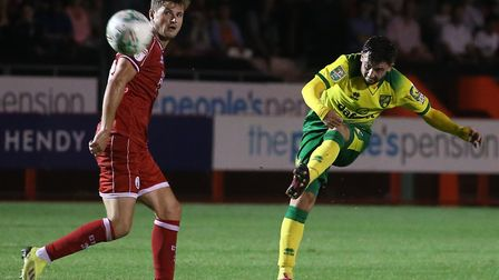 Loan winger Patrick Roberts hit the post as Norwich were beaten at Crawley in the League Cup in Augu