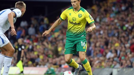 Philip Heise in 2019 pre-season action for Norwich against Atalanta at Carrow Road Picture: Paul Che