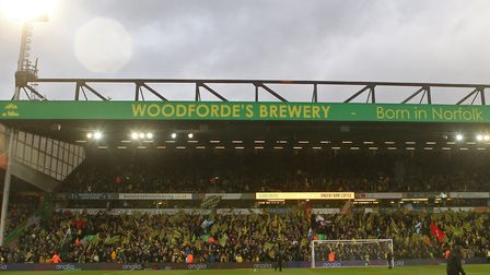 The Woodforde's branding on the Barclay Stand at Carrow Road Picture: Paul Chesterton/Focus Images