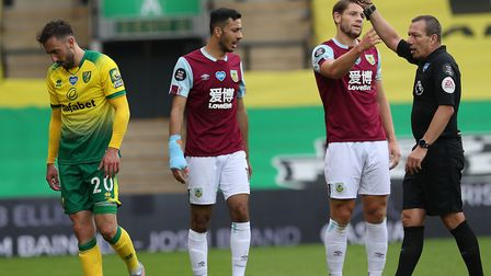 Norwich were reduced to nine men during their 2-0 home loss to Burnley as Josip Drmic was sent off P