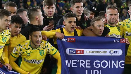 Nick Hayes, back row, left, alongside fellow academy keeper Aston Oxborough during Norwich City's pr