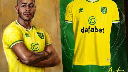 Onel Hernandez poses in the new home strip Picture: Norwich City FC