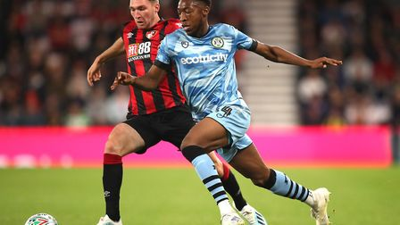 Ebou Adams in League Cup action for Forest Green Rovers against Bournemouth last season Picture: And