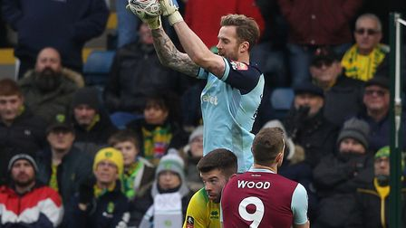 Schalke keeper Ralf Fahrmann in loan action for Norwich at Burnley in the FA Cup fourth round Pictur
