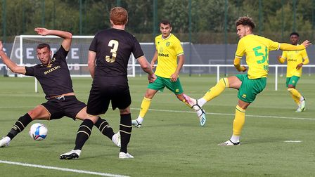 Josh Martin of Norwich scores his sides 2nd goal during the Pre-season friendly match at Lotus Train
