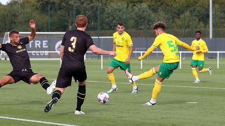 Young midfielder Josh Martin fired the Canaries 2-0 up against MK Dons Pictures: Paul Chesterton/Foc